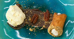 Sandy's cannoli with Marsala fig jam and a salted egg ice cream on the final of Masterchef ...