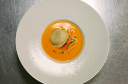 Tom Kitchin's velvet crab bisque with scallop and crab mousse ravioli cooked by Thomas on  ...