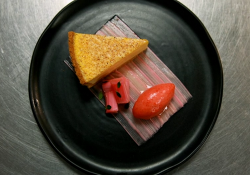 Tom Kitchin's baked egg custard tart with rhubarb three ways made by Beverley on Masterchef 2020