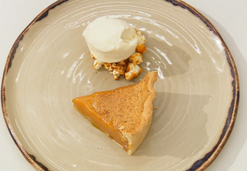 Thomas' salted caramel custard tart with popcorn ice cream dessert on the final of Masterc ...