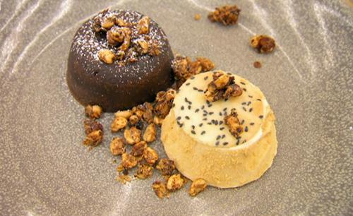 Thomas chocolate porter fondant with ice cream  bourbon butterscotch sauce on Masterchef 2020