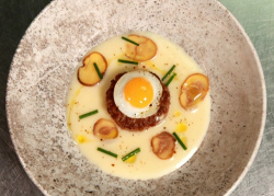 Tom Kitchin's game burger with celeriac soup and quail eggs cooked by Claire on Masterchef 2020