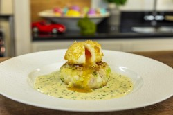 James Martin Haddock Fishcakes with Deep-Fried Soft-Boiled Egg and Mustard Cream Sauce on James  ...