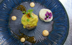 Claire's heart of palm dish made using a recipe by chef Peeroo Nizam on Masterchef 2020
