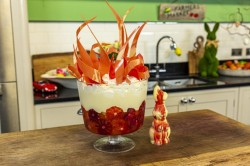 James Martin Blood Orange Trifle with hot cross buns on James Martin's Saturday Morning