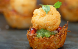 Jasmeet's chilli spiced potato birds nest with pomegranate and mint chutney canapes on Mas ...