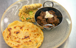 Jasmeet's kidney curry with chilli, spicy scrambled eggs and a mint paratha on Masterchef 2020