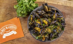 James Martin curried mussels with coconut milk and coriander on James Martin's Saturday Mo ...