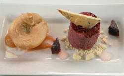 Christian, Jasmeet and Natasha's blackberry mousse with white chocolate shard,  poached pe ...