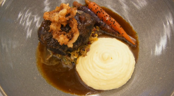 Thomas' ox cheeks with crispy onions, Brussels sprouts, carrots and horseradish mash main  ...