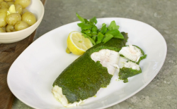 James Martin plaice with a lovage and parsley crust with cheese and potatoes on James MartinR ...