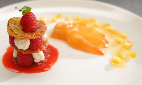Claire's peach Melba with ricotta and thyme ice cream on Masterchef 2020