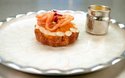 Jasmeet's carrot halwa tart with saffron cream on Masterchef 2020