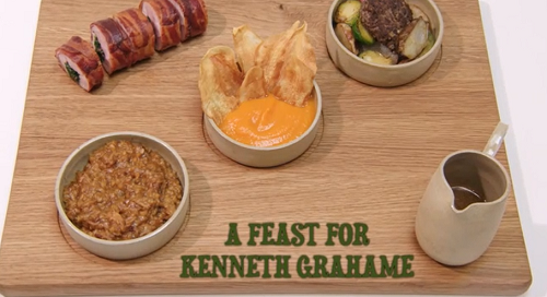 Roberta's  rabbit feast for Kenneth Grahame with haggis and shepherd's pie on the Gr ...