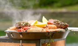 James Martin surf and turf with haggis butter on James Martin's Islands To Highlands