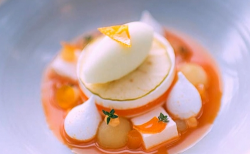 Tom Kitchin's seabuckthorn jelly with yoghurt panna cotta and marshmallow dessert made by Mandy  ...