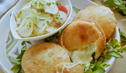 Ainsley Harriott's Sardinian  seadas with sweet thyme honey and a pear and apple salad on  ...