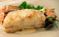 Beverley's roasted turbot with mash, samphire, prawns, and mussels and a  star anise sauce ...