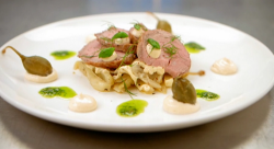 Claire's vitello tonnato (roast veal with tuna mayonnaise and braised fennel) on Masterche ...
