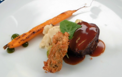 Sandy, Thomas and Charlotte's roasted venison loin with crisper oyster, carrots, mash pota ...