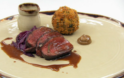 Thomas's roast venison in black treacle and yeast extract, bubble and squeak croquette, bl ...