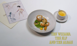 Roberta Hall's The Wizard The Elf and The Algae fish course  on the Great British Menu