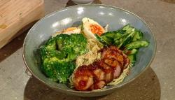 Matt Tebbutt's lunch bowl with pork, pasta, hard boil egg and vegetables on Saturday kitchen