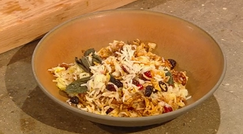 Vivek Singh Kashmiri spiced mutton biryani with dried fruit on Saturday Kitchen