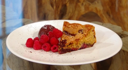 Matt Tebbutt's chocolate, hazelnut and raspberry cake with a sumac, chocolate and almond b ...