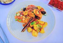Ainsley Harriott Spanish style chicken with saffron potatoes on Ainsley's Mediterranean Co ...