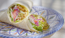 Ainsley Harriott's Jordanian chicken shawarma with a tahini yoghurt dressing on Ainsley ...