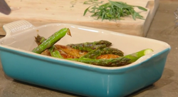 Marcus Wareing's Chicken thighs with grilled asparagus and a  mushroom and mustard sauce o ...