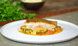 James Martin pan fried cod with a salt cod, pollock and beans stew on James Martin's Islands To  ...