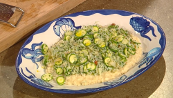 Diego Cardoso risotto with Amalfi lemon and  crab salad on Saturday Kitchen