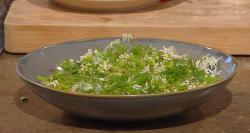 Pam Brunton's halibut roe with  potato dumplings, potato broth , spring herbs and flowers  ...