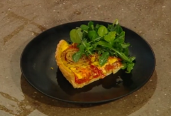 Matt Tebbutt's tomato quiche with onions and salad on Saturday Kitchen