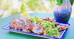 Ainsley Harriott chargrilled sumac lamb cutlets with tabbouleh on Ainsley's Mediterranean  ...