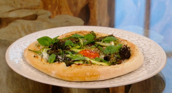 Matt Tebbutt's Ottolenghi inspired pizza with ricotta and vegetable on Saturday Kitchen