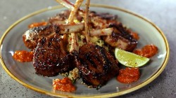 Nick Nairn and Dougie Vipond's lamb chops with harissa, grilled vegetables and couscous on ...