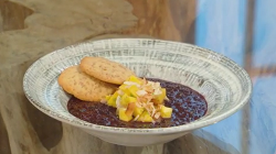 Matt Tebbutt black rice coconut pudding with linseed cookies and toasted coconut on Saturday Kitchen