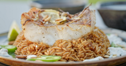 Muhammad and Raheed's Jordanian fish and rice dish on Ainsley's Mediterranean Cookbook
