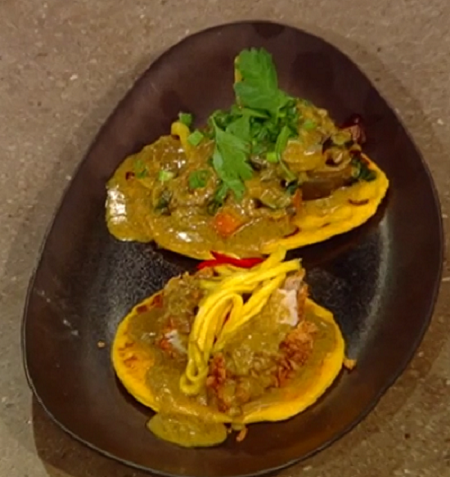 Andi Oliver's Sweet potato roti with fried chicken, ital vegetables, mango, red chilli and ...