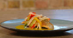 Andi Oliver's crisp fillet of sea bream with turmeric golden broth and escovitch pickles o ...