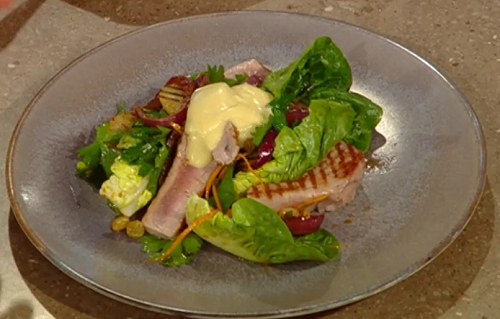 Matt Tebbutt's  Jersey Royal potato salad with tuna steak, golden sultanas and  aioli on S ...