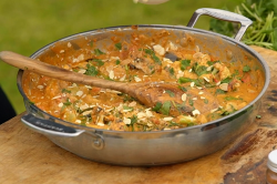 James Martin vegetable curry with almonds, grilled cauliflower, spring onions and yoghurt on Jam ...