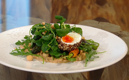 Matt Tebbutt's  grilled vegetable salad with sumac crispy egg and a almond butter and yoghurt dr ...