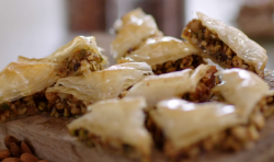 John Torode's baklava with roasted nuts, syrups and chocolate chips on John and Lisa' ...