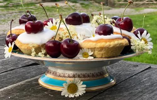 Alison O'Neill (Yorkshire Shepherdess) Bakewell cherry tarts with strawberry and elderflow ...