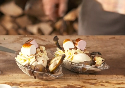 James Martin banana split with rosemary, marshmallows, green pesto, ice cream and chocolate sauc ...