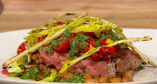 Theo Randall grilled beef tagliata with beans, tomatoes and salsa verde on Saturday Kitchen